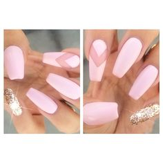 baby pink chevron coffin shape nails. with a gold accent nail. pretty :)
