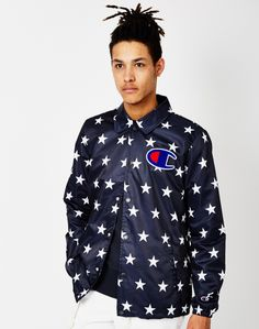 Champion Camo Coaches Jacket Navy | Shop men's clothing at The Idle Man