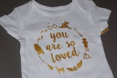 Harry Potter Inspired Baby Onesie // Gold // You Are So Loved Bodysuit // Harry Potter Baby Shower Gift