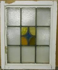 "OLD ENGLISH LEADED STAINED GLASS WINDOW Nice Geometric Design 17.75"" x 21.75"""