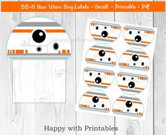 BB-8 Star Wars Bag label  BB8 treat bag label  SMALL  Star