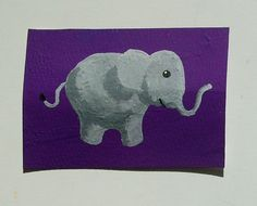 The Purple Elephant 53 ARTIST TRADING CARDS 2.5 x by MikeKrausArt