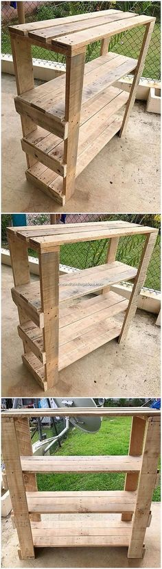 Diy Furniture - What a giant looking structural set of the wood pallet shelving table that is gi. Wood Pallet Planters, Wood Pallet Recycling, Wooden Pallet Furniture, Pallet Crafts, Diy Pallet Projects, Wood Pallets, Wood Projects, Diy Furniture, Woodworking Projects