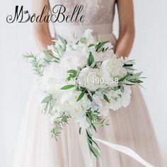 Gorgeous Wedding Bouquets For Brides Green White Artificial Peony Kunstmatige Bruidsboeketten Bridal Bridesmaid Flower Bouquet