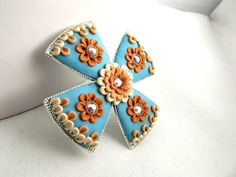 Light Blue Brooch with Off White & Brown Clay Floral by TunicBotik, $40.00