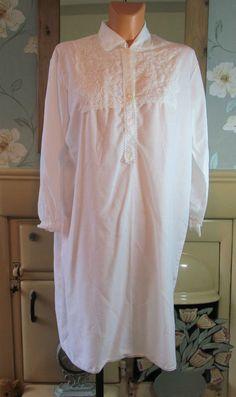Vintage white Victorian style sissy nightgown nightshirt nightie XL/XXL R13391