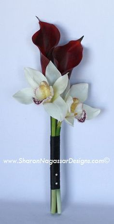 orchid and calla lilies bouquet fuschia   ... - Red Burgundy Calla lilies and white off-white cymbidium orchids