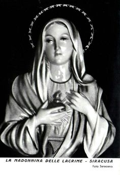 A 1950s postcard of the miraculous Weeping Madonna of Siracusa, Sicily.