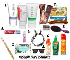 What to Bring on A Mission Trip- Mission Trip Essentials: Facewash, snack and meal bars, bugspray, dry shampoo, sunglasses, etc. Visit http://www.cupcakesandsunshine.com/2015/05/what-to-bring-on-mission-trip-mission.html for more travel tips!