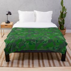 'Green camo design' Throw Blanket by MidnightBrain Camo Designs, Buy Bed, Mosaic Patterns, Background S, Green Backgrounds, Shades Of Green, Decorating Your Home, Duvet, Bedding