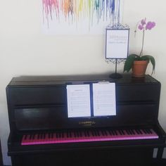 Come play chopsticks on our ombre pink piano #decorideas #ombre #pink #rainbowpiano #colourful