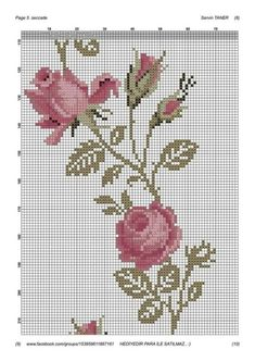Hand Embroidery Stitches, Embroidery Applique, Cross Stitch Embroidery, Embroidery Patterns, Cross Stitch Rose, Cross Stitch Flowers, Cross Stitch Designs, Cross Stitch Patterns, Fabric Painting On Clothes