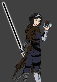 Snow White is a Sith lord, who keeps slave collars on the seven dwarves so that they will be forced to wait on her hand and foot.