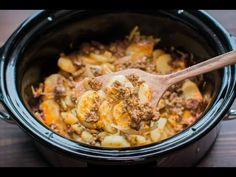 This Slow Cooker Beef and Potato Au Gratin is an easy from scratch hearty meal!