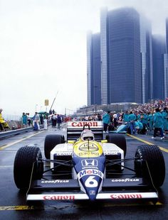 """itsawheelthing: """" Williams Wednesday … what we miss … epic liveries Nelson Piquet, Canon Williams-Honda FW11B, 1987 Detroit Grand Prix the white, yellow & blue livery used during the 9 year..."""