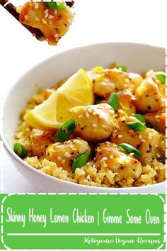 This Skinny Honey Lemon Chicken recipe is quick and easy to make, made naturally lighter and gluten-free, and it's absolutely delicious! Healthy Eating Recipes, Vegan Recipes Easy, Easy Dinner Recipes, Real Food Recipes, Chicken Recipes, Easy Meals, Healthy Chicken, Drink Recipes, Dessert Recipes