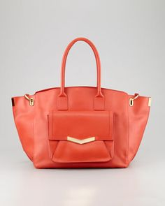 Jo Leather Tote Bag with Pocket, Paprika/Gold by Time\'s Arrow at Neiman Marcus.
