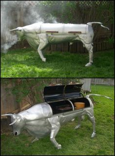 Grilling and smoking meets art!  http://ideas2live4.com/2015/09/22/el-toro-smoker-function-and-aesthetics-in-one/  This is Russ Marr's El Toro Bravo Smoker. It's a bull shaped grill and smoker combo made from cast aluminum. This smoker doesn't only look good, it also work good!  Would you like to have this bad boy at your next backyard barbecue?  #smoker #grill