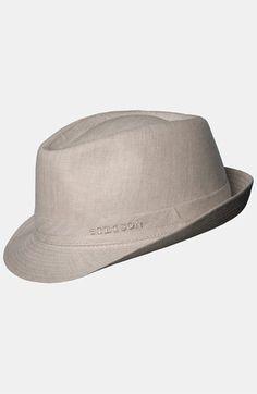Men s Stetson Linen Fedora - Beige Brim Hat c18052bd469e