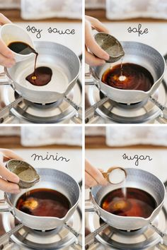 Teriyaki sauce first 4 steps in 4 photos