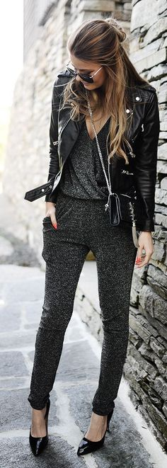 I am loving how the casual jumpsuit is being updated with pumps, a leather jacket, and the YSL crossbody.