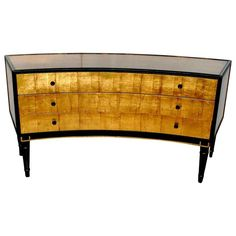 View this item and discover similar for sale at - Elegant three drawers curved Louis XVI style commode cover with metallic gold leaf. Please note: Minor scratches on gold leaf see detail pictures. Flat Hallway Ideas, Hallway Console, Modern Dresser, Gold Highlights, Painted Furniture, Furniture Storage, Vintage Storage, Storage Cabinets, Chest Of Drawers