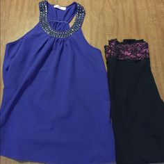 LISTING‼️ EUC beautiful blue fashion blouse EUC beautiful indigo colored blouse from local boutique. Collar has spike/stones all around it for glistening effect. Sophie & Kate brand. Washed only according to tag. 65% poly. 35% cotton. NO TRADES Tops Blouses