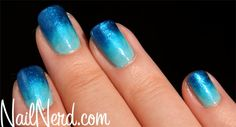 The base, which you can make out near the nail bed, is China Glaze For Audrey, which I'll really need to use sometime all on its own because it'...  #aqua #blue #gradient #sponge #turquoise #nails #nailpolish