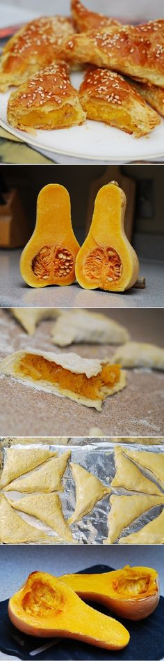 (United States) Butternut squash (or pumpkin) turnovers, using puff pastry: wonderfully sweet and peppery. Super easy to make! | JuliasAlbum.com