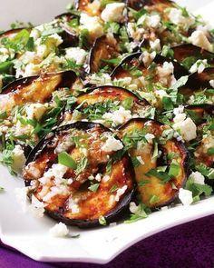 Grilled Eggplant with Garlic-Cumin Vinaigrette, Feta and Herbs