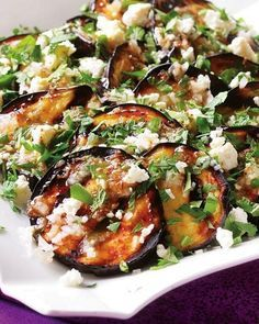Grilled Eggplant with Garlic-Cumin Vinaigrette, Feta and Herbs