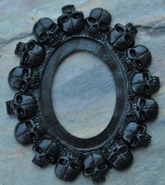 Set of 2 Antique Black Newest Gothic Multi Skull Open Back Vintage Style Frame for Cabochon....39mm x 65mm 30mm x 40mm on Etsy, $3.75