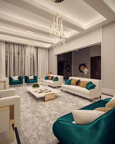 Family villa Contemporary Arabic Interior Design 6 – Expansive and grand living … Luxury Homes Interior, Luxury Home Decor, Modern Interior Design, Contemporary Living Room Designs, Contemporary Houses, Modern Interiors, Home Room Design, Interior Design Living Room, Living Room Decor