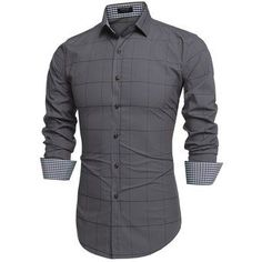 Compra Camisa Cuadros Con Manga Larga Para Hombre-Gris online ✓ Encuentra  los mejores productos dda6e0fcd8830