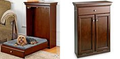 This handsome piece of furniture looks like a wall cabinet but is actually a space-saving Murphy bed for your pet. Unlike regular pet beds, this one stays