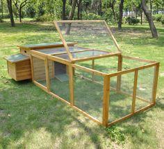 Chicken Coop Poultry Hen House W/ Run Backyard Tractor