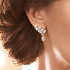 Toast to brilliance in Sparkling Cluster #Diamond Earrings by #HarryWinston.