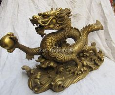 14'' classical pure brass royal five claw dragon on sea statue-in Decoration Crafts from Home & Garden on Aliexpress.com | Alibaba Group