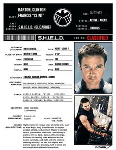 S.H.I.E.L.D. Files: Clint Barton/Hawkeye (requested by rp-er privatehawk)