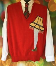 Men's Red LEG LAMP Ugly Christmas Sweater Party Vest Size Medium