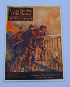 In The Service of the Nation The NFS Goes Into Action National Fire Service Benevolent Fund Fire Brigade Vintage Ephemera Vintage Card by BiminiCricket on Etsy
