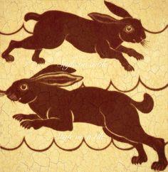 Lovely William De Morgan Red Brown Beige Rabbit Hare design