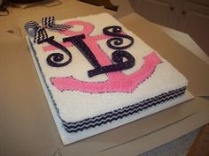 My Baby Shower Cake! or at least along the lines of it anyway Anchor Birthday Cakes, Anchor Cakes, 16 Birthday Cake, Birthday Gifts For Girls, Birthday Ideas, Birthday Recipes, Birthday Bash, Happy Birthday, Sweet 16 Cakes