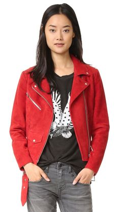 Veda Jayne Suede Jacket - Crimson