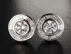 Diamond Stud Earrings in 14K White Gold - Baguette & Round Channel Set  .73ctw Diamonds Stud Earrings