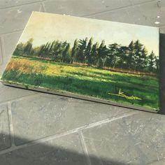 Fruitful days.  .  .  .  #interiors #interiordecor #gallery #artgallery #artlover #paysage #artist #artnews #arty #artlover #artlovers #igerslecce #cartolinesalentine #paintanyway #buyart #dailyart #artistsoninstagram #artdaily #pittura #dipinto #oliosutela #paesaggio #weareinpuglia #southitaly #sunny #trees #field