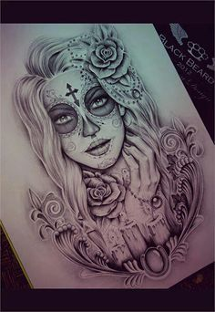 Beautiful day of the dead girl tattoo drawing