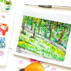 I painted this on a sunny day, sitting on a park bench and enjoying the spring air. I want to do this more this summer, where I can just… Spring Air, Watercolor Landscape, Open Up, Sunny Days, Bench, Park, Nature, Summer, Landscapes