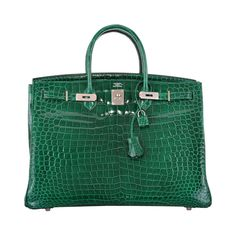 HERMES BIRKIN BAG 40CM EMERALD GREEN CROCODILE (vert Émeraude) PHW JaneFinds | From a collection of rare vintage top handle bags at https://www.1stdibs.com/fashion/handbags-purses-bags/top-handle-bags/