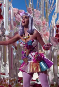 Katy Perry a-line sweetheart organza skirt short candy dress.. My most favorite music video!!